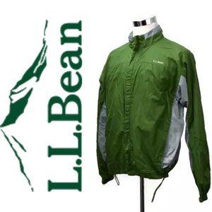 LL BEAN Windbreaker Jacket Size L Full Zip Green